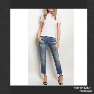 Denim - Mid Rise Distressed Jeans